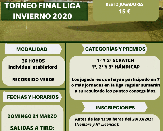Torneo Final Liga Invierno 2020 Tambre Golf